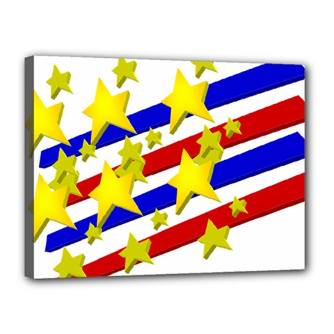 Flag Ransparent Cartoon American Canvas 16  X 12  by Onesevenart