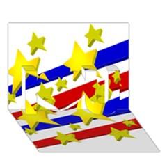 Flag Ransparent Cartoon American I Love You 3d Greeting Card (7x5) by Onesevenart