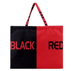 Black Red Splitting Typography Zipper Large Tote Bag by Onesevenart