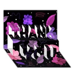 Purple And Pink Flowers  Thank You 3d Greeting Card (7x5) by Valentinaart