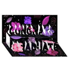 Purple And Pink Flowers  Congrats Graduate 3d Greeting Card (8x4) by Valentinaart