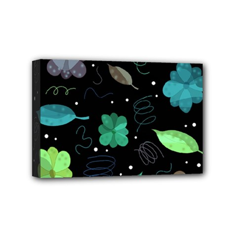 Blue And Green Flowers  Mini Canvas 6  X 4  by Valentinaart