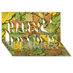 Autumn Flowers Happy Birthday 3d Greeting Card (8x4) by Valentinaart