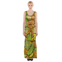 Autumn Flowers Maxi Thigh Split Dress by Valentinaart
