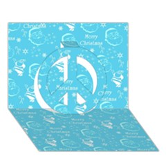 Santa Christmas Collage Blue Background Peace Sign 3d Greeting Card (7x5) by Onesevenart