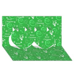 Santa Christmas Collage Green Background Twin Hearts 3d Greeting Card (8x4) by Onesevenart
