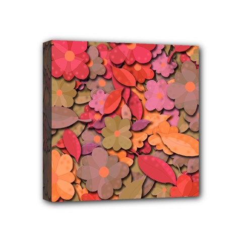 Beautiful Floral Design Mini Canvas 4  X 4  by Valentinaart