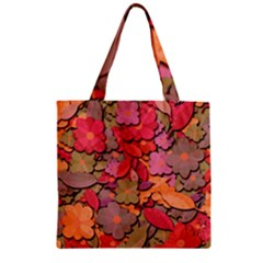 Beautiful Floral Design Zipper Grocery Tote Bag by Valentinaart