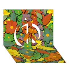 Decorative flowers Peace Sign 3D Greeting Card (7x5) by Valentinaart