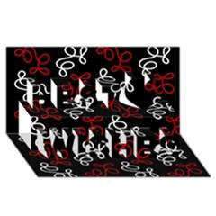 Elegance   Red  Best Wish 3d Greeting Card (8x4) by Valentinaart