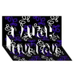 Elegance   Blue Laugh Live Love 3d Greeting Card (8x4) by Valentinaart