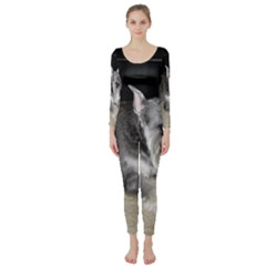 Mini Schnauzer Laying Long Sleeve Catsuit by TailWags