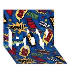 Fabric Comic Words Boy 3d Greeting Card (7x5) by Onesevenart