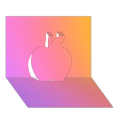 Blank Desk Pink Yellow Purple Apple 3d Greeting Card (7x5) by AnjaniArt