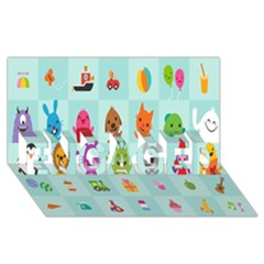 Animals Monster Music Engaged 3d Greeting Card (8x4) by AnjaniArt
