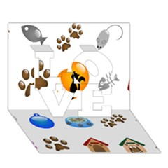 Cat Mouse Dog Love 3d Greeting Card (7x5) by AnjaniArt