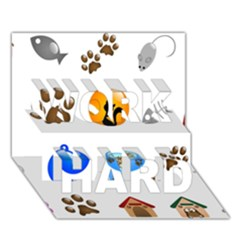 Cat Mouse Dog Work Hard 3d Greeting Card (7x5) by AnjaniArt
