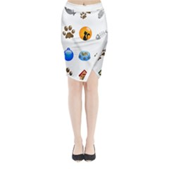Cat Mouse Dog Midi Wrap Pencil Skirt by AnjaniArt