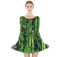 Bamboo Pattern Tree Long Sleeve Velvet Skater Dress by AnjaniArt