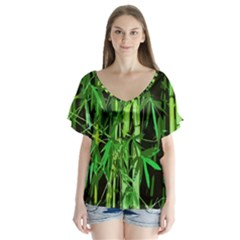 Bamboo Pattern Tree Flutter Sleeve Top by AnjaniArt