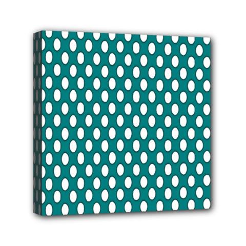 Circular Pattern Blue White Mini Canvas 6  X 6  by AnjaniArt