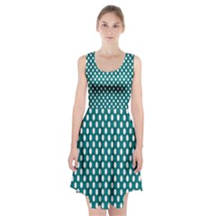 Circular Pattern Blue White Racerback Midi Dress by AnjaniArt