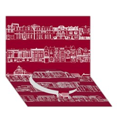 City Building Red Circle Bottom 3d Greeting Card (7x5)