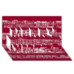 City Building Red Merry Xmas 3d Greeting Card (8x4) by AnjaniArt