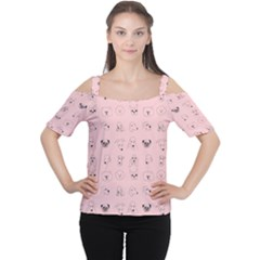 Dog Pink Women s Cutout Shoulder Tee by AnjaniArt