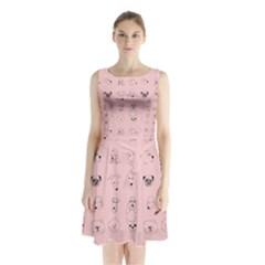 Dog Pink Sleeveless Chiffon Waist Tie Dress by AnjaniArt