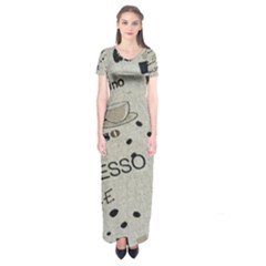 Coffe Cup Short Sleeve Maxi Dress by AnjaniArt