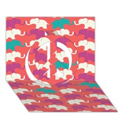Elephant Peace Sign 3d Greeting Card (7x5) by AnjaniArt