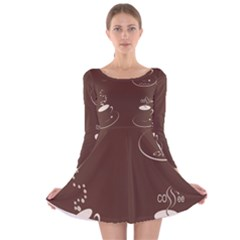 Four Coffee Cups Long Sleeve Velvet Skater Dress by AnjaniArt
