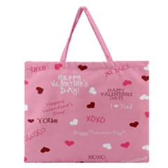 Happy Valentines Day Zipper Large Tote Bag by AnjaniArt