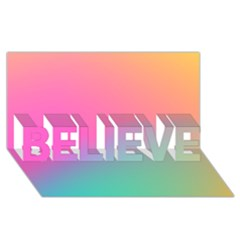 Pink Blue Believe 3d Greeting Card (8x4) by AnjaniArt