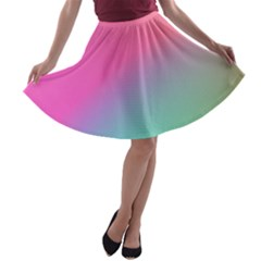 Pink Blue A Line Skater Skirt by AnjaniArt