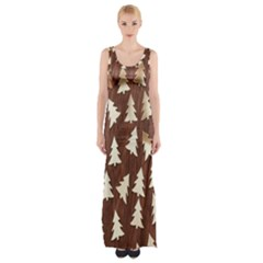 Gold Tree Background Maxi Thigh Split Dress by AnjaniArt