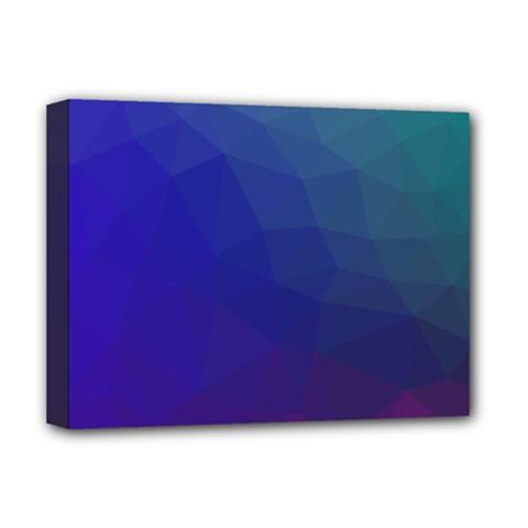 Polyart Dark Blue Purple Pattern Deluxe Canvas 16  X 12   by AnjaniArt