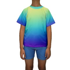 Purple Blue Green Kids  Short Sleeve Swimwear by AnjaniArt