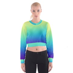 Purple Blue Green Women s Cropped Sweatshirt by AnjaniArt