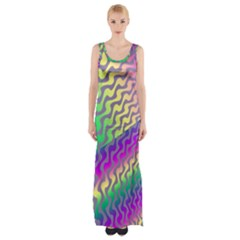 Line Colour Wiggles Maxi Thigh Split Dress by AnjaniArt