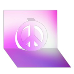 Purple White Background Bright Spots Peace Sign 3d Greeting Card (7x5) by AnjaniArt
