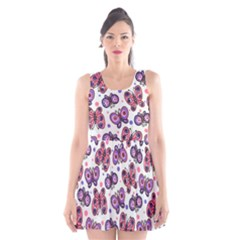 Pink Purple Butterfly Scoop Neck Skater Dress by AnjaniArt