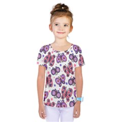 Pink Purple Butterfly Kids  One Piece Tee