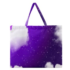 Purple Cloud Zipper Large Tote Bag by AnjaniArt