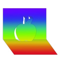 Rainbow Blue Green Pink Orange Apple 3d Greeting Card (7x5) by AnjaniArt