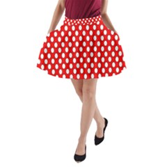 Red Circular Pattern A Line Pocket Skirt by AnjaniArt