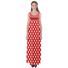 Red Circular Pattern Empire Waist Maxi Dress by AnjaniArt