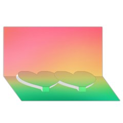 The Walls Pink Green Yellow Twin Heart Bottom 3d Greeting Card (8x4)