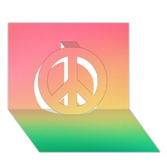 The Walls Pink Green Yellow Peace Sign 3d Greeting Card (7x5)